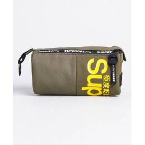 Superdry Double Zip Pencil Case in Green (Size: 1SIZE)