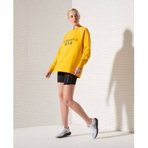 Superdry Sport Training Graphic Oversized Crew Sweatshirt in Yellow (Size: 12)