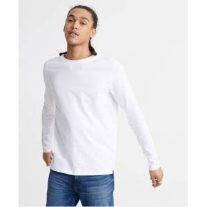 Superdry Organic Cotton Standard Label Long Sleeved Top in White (Size: M)