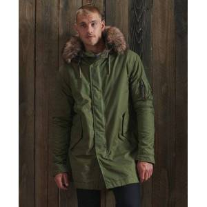 Superdry Service Faux Fur Trim Parka Coat in Khaki (Size: S)