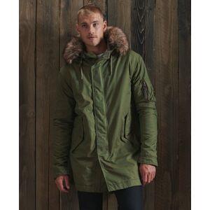 Superdry Service Faux Fur Trim Parka Coat in Khaki (Size: S)