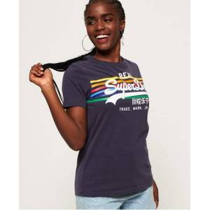 Superdry Vintage Logo Rodeo Rainbow Stripe T-Shirt in Navy (Size: 14)