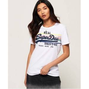 Superdry Vintage Logo Rodeo Rainbow Stripe T-Shirt in White (Size: 18)
