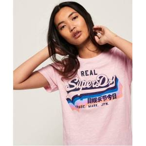 Superdry Vintage Logo Rainbow Shadow T-Shirt in Pink (Size: 16)