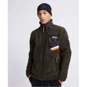 Superdry Celsius Sherpa Track Top in Brown (Size: L)