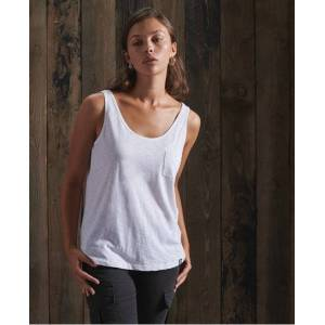 Superdry Organic Cotton Essential Tank Top in White (Size: 18)