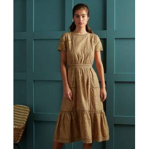 Superdry DRY Limited Edition Dry Metallic Midi Dress in Gold (Size: 10)