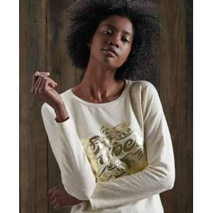 Superdry Detroit Graphic Top in Beige (Size: 16)
