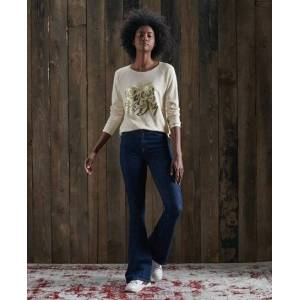 Superdry Detroit Graphic Top in Beige (Size: 10)