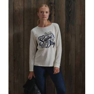 Superdry Detroit Graphic Top in Cream (Size: 10)