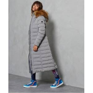 Superdry Arctic Long Puffer Coat in Light Grey (Size: 16)