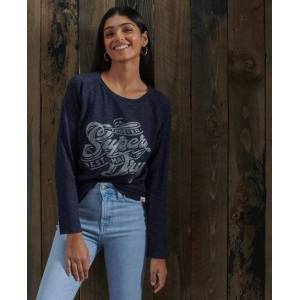 Superdry Detroit Graphic Top in Navy (Size: 10)