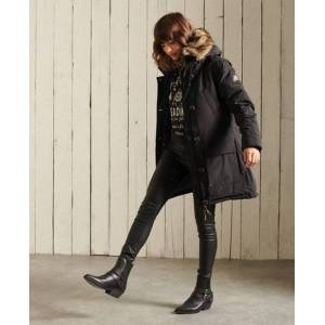 Superdry Rookie Down Parka Coat in Black (Size: 6)
