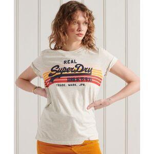 Superdry Vintage Logo Retro Rainbow T-Shirt in Light Grey (Size: 8)