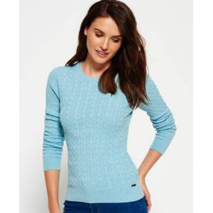 Superdry Summer Luxe Mini Cable Knit Jumper in Green (Size: XS)