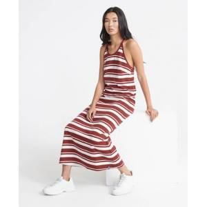 Superdry Summer Stripe Maxi Dress in Red (Size: 6)
