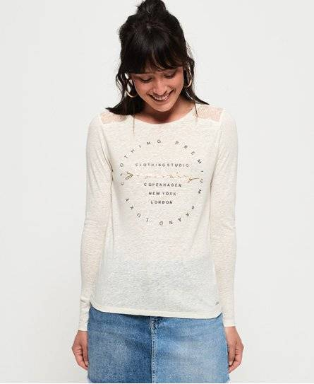 Superdry Lace Back Graphic Top in White (Size: 14)
