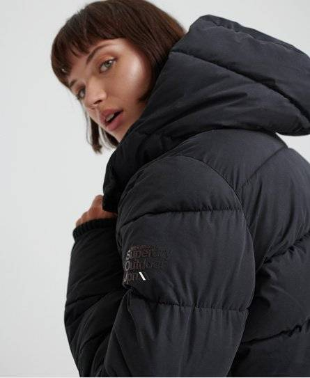 Superdry Akan Microfibre Padded Jacket in Black (Size: 12)