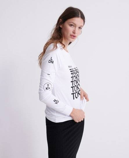 Superdry Brand Language Skater Long Sleeved Top in Cream (Size: 6)