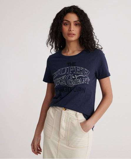 Superdry Workwear Chainstitch Embroidered T-Shirt in Navy (Size: 14)