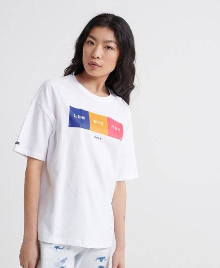 Superdry City Unity Box Fit T-Shirt in White (Size: 8)