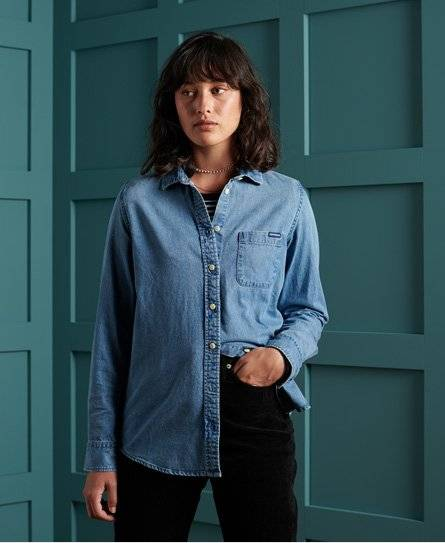 Superdry Denim Classic Shirt in Blue (Size: 10)