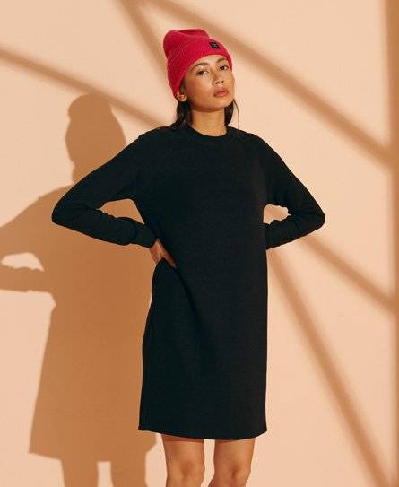 Superdry Soft Rib Crew Neck Dress in Black (Size: 16)