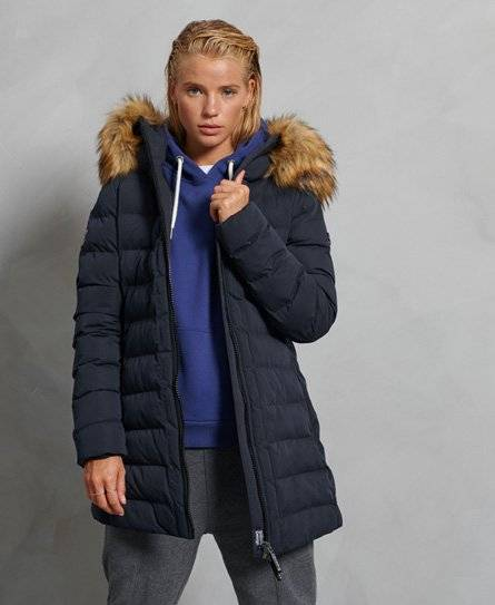 Superdry Arctic Tall Puffer Coat in Navy (Size: 8)