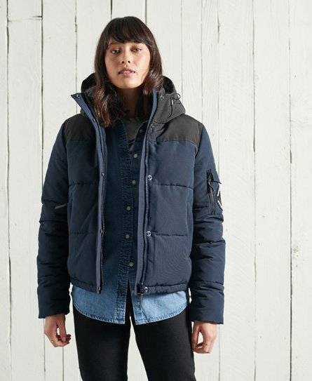 Superdry Quilted Everest Jacket in Dark Blue (Size: 14)