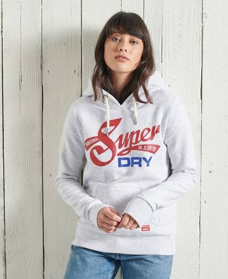 Superdry Limited Edition Americana Glitter Hoodie in Light Grey (Size: 16)