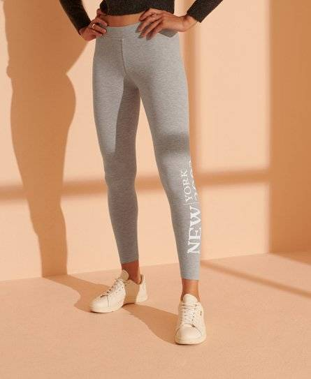 Superdry Fashion Graphic Legging in Grey (Size: 10)