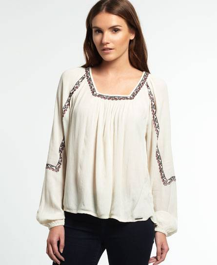 Superdry Topeka Square Neck Blouse in Cream (Size: M)