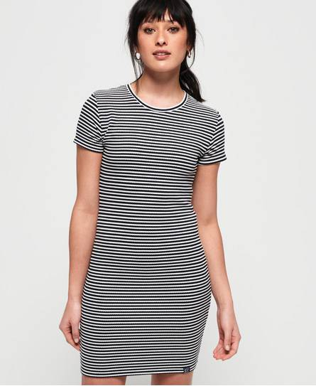 Superdry Evie Textured T-Shirt Dress in Navy (Size: 12)