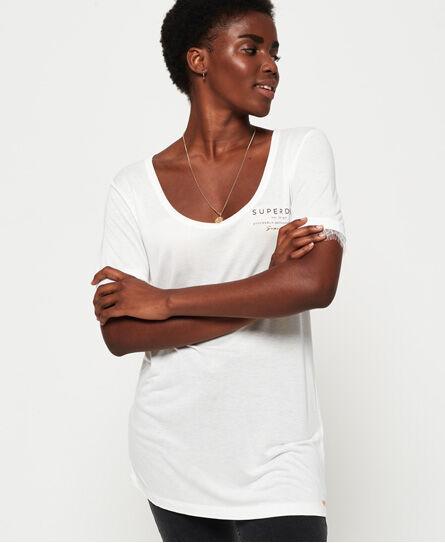 Superdry Eyelash Lace Graphic T-Shirt White