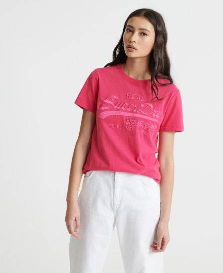 Superdry Vintage Logo Tonal Embroidery T-Shirt in Pink (Size: 12)