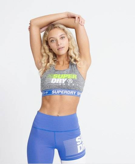 SUPERDRY Training Graphic Sports Bra in Blue (Size: 12)
