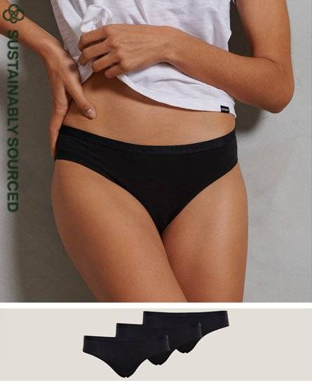 SUPERDRY Organic Cotton Essential Brief Triple Pack in Black (Size: 6)