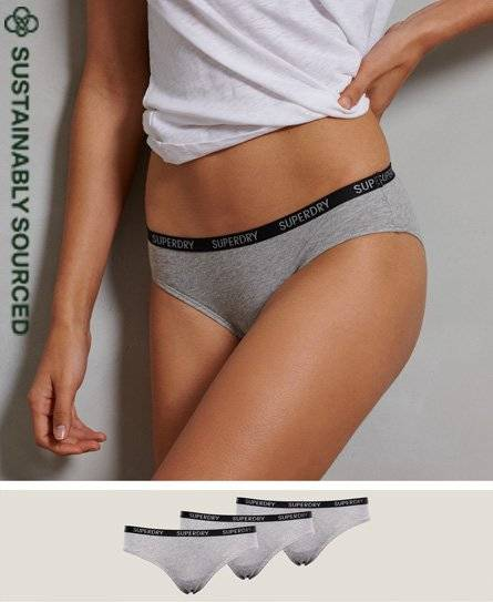 SUPERDRY Organic Cotton Essential Brief Triple Pack in Grey (Size: 8)