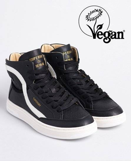 Superdry Vegan Basket Lux Trainers in Black (Size: 8)