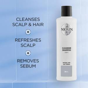NIOXIN 3-Part System 1 Cleanser Shampoo for Natural Hair with Light Thinning 1000ml