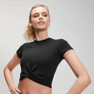 MP Women's Power Short Sleeve Crop Top - Black - XS