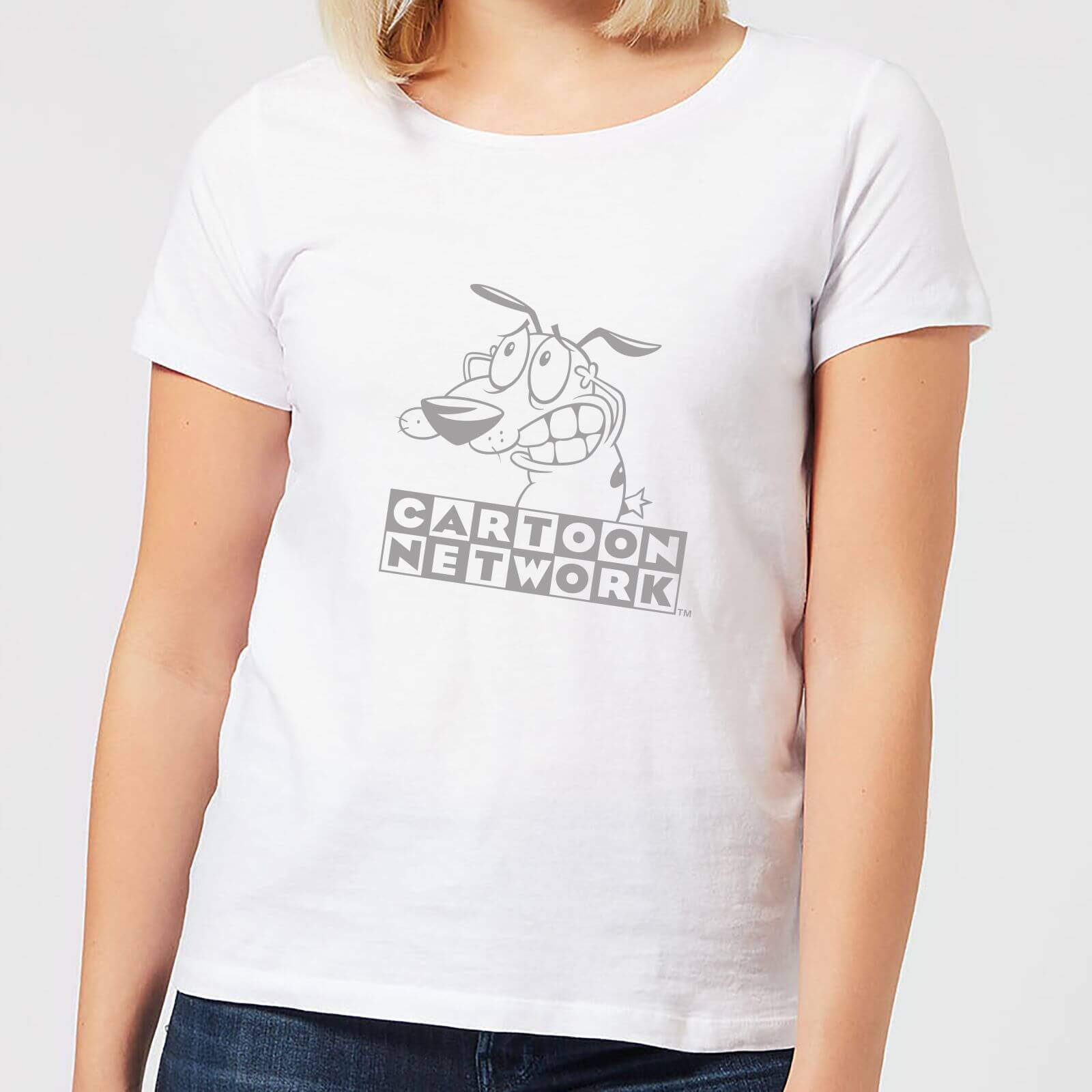 Cartoon Network Courage The Cowardly Dog Outline Women's T-Shirt - White - L - White