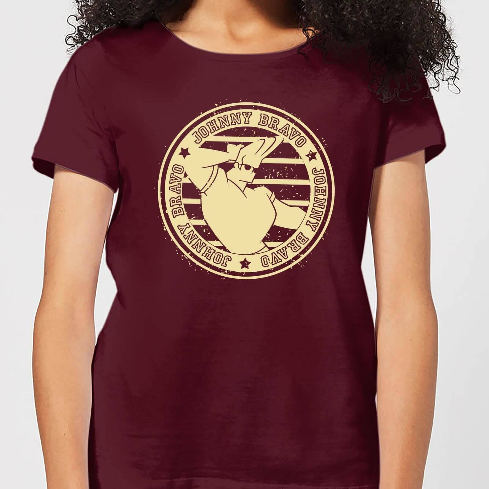 Cartoon Network Johnny Bravo Sports Badge Women's T-Shirt - Burgundy - L - Burgundy