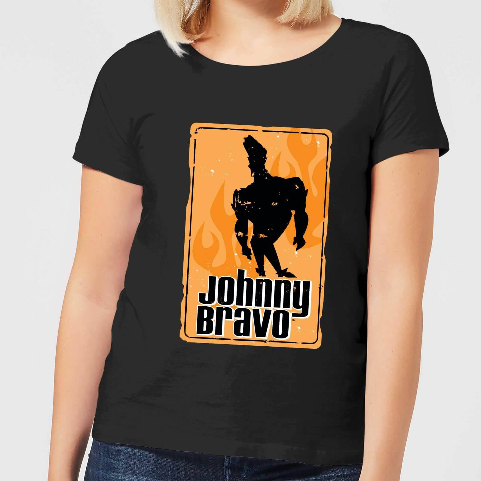 Cartoon Network Johnny Bravo Fire Women's T-Shirt - Black - M - Black