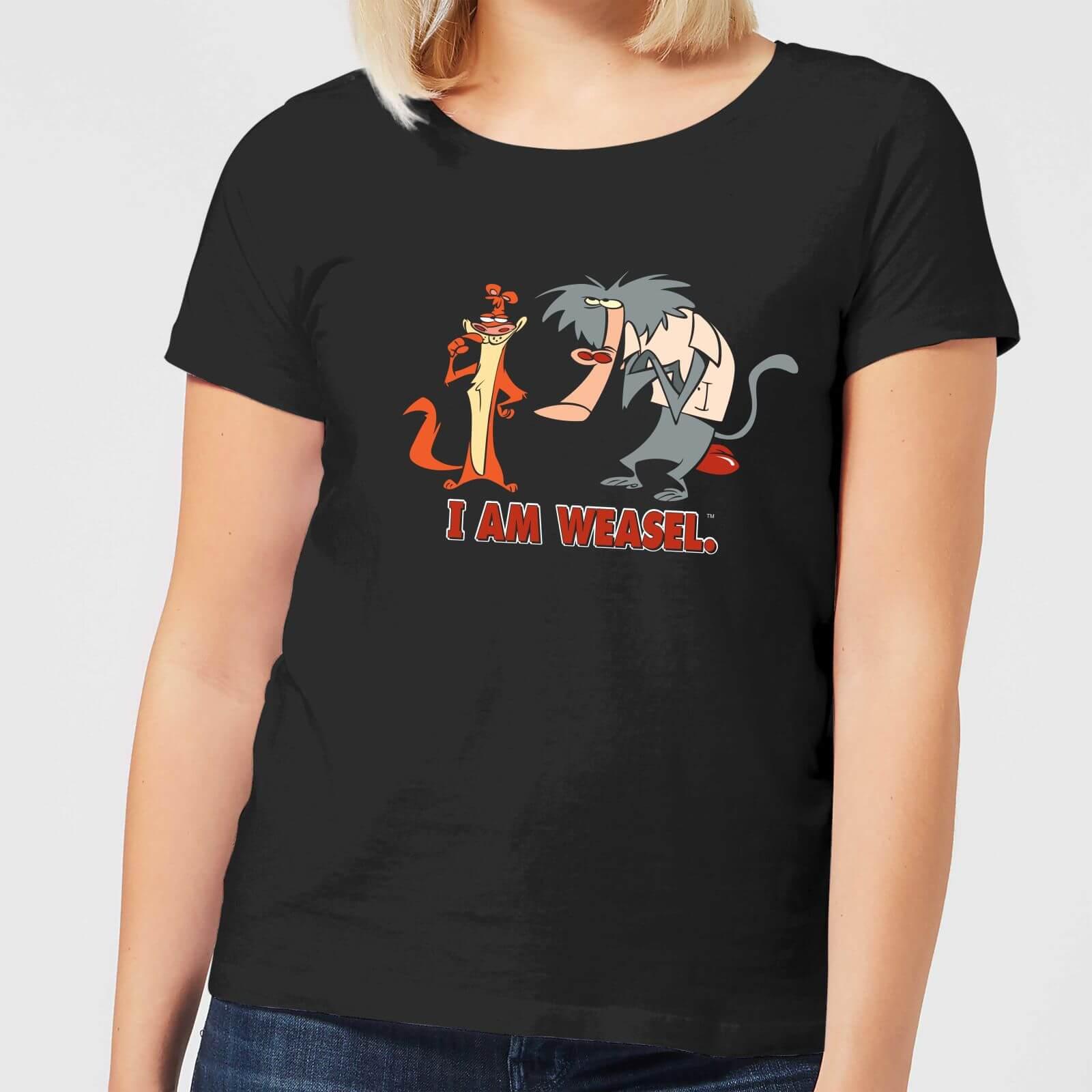 Cartoon Network I Am Weasel Characters Women's T-Shirt - Black - XL - Black