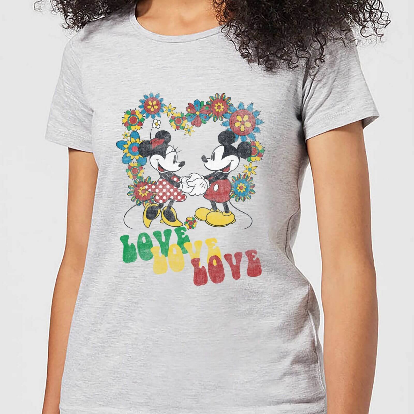 Disney Mickey Mouse Hippie Love Women's T-Shirt - Grey - S - Grey