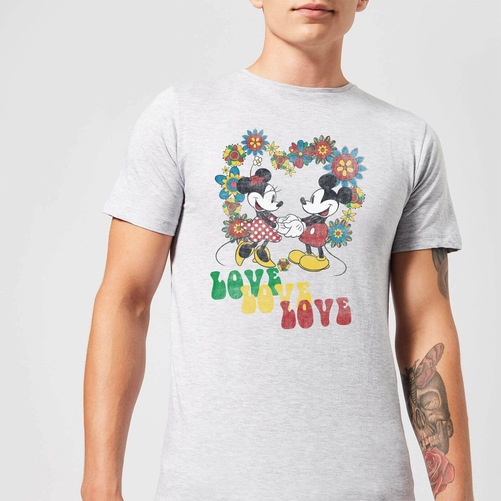 Disney Mickey Mouse Hippie Love T-Shirt - Grey - L - Black