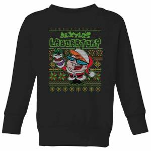 Cartoon Network Dexter's Lab Pattern Kids' Christmas Sweatshirt - Black - 5-6 Years - Black