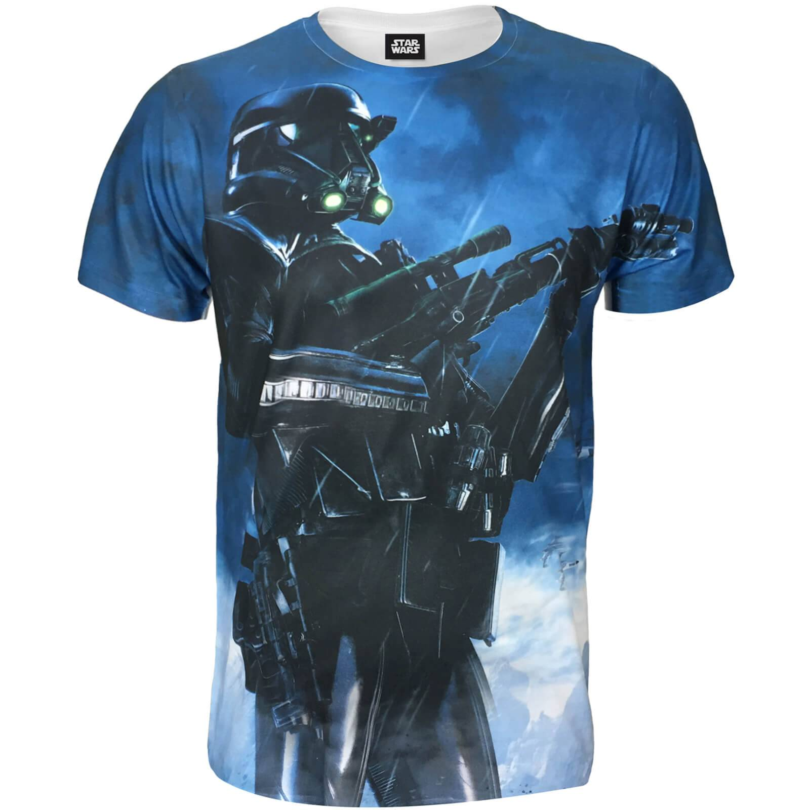 Geek Clothing Star Wars Rogue One Men's Battle Stance Death Trooper T-Shirt - Blue - L - Blue