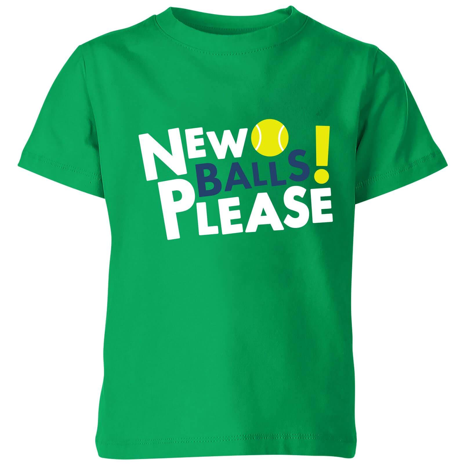 The Tennis Collection New Balls Please Kids' T-Shirt - Kelly Green - 7-8 Years - Kelly Green